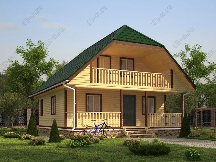 Проект с мансардой 8 на 10 дом из профилированного бруса терраса (веранда) двухскатная крыша санузел (туалет)