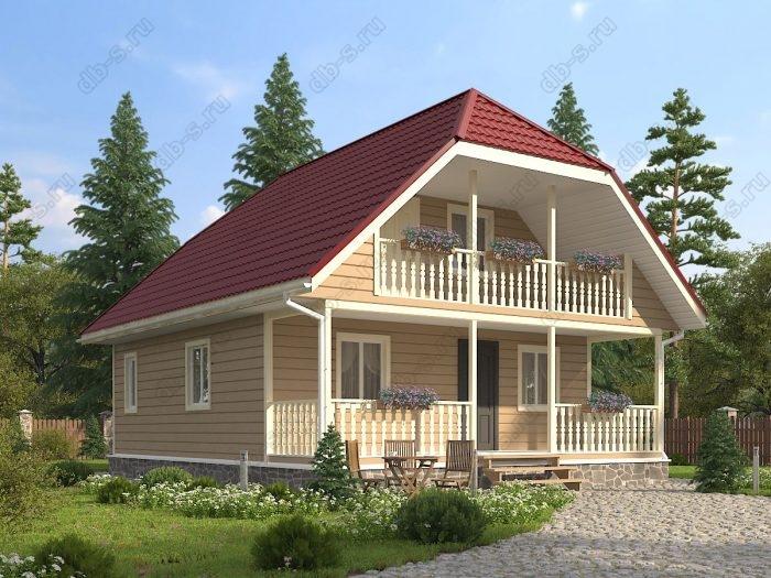 Проект с мансардой 8 на 10 каркасный дом под ключ терраса (веранда) двухскатная крыша санузел (туалет)