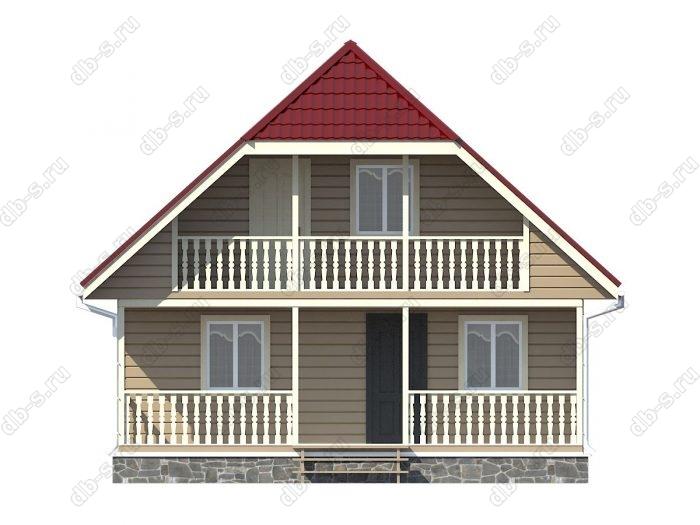 Каркасный дом 8х10 терраса (веранда) двухскатная крыша