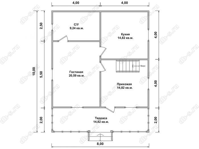Планировка дома с мансардой 8 на 10