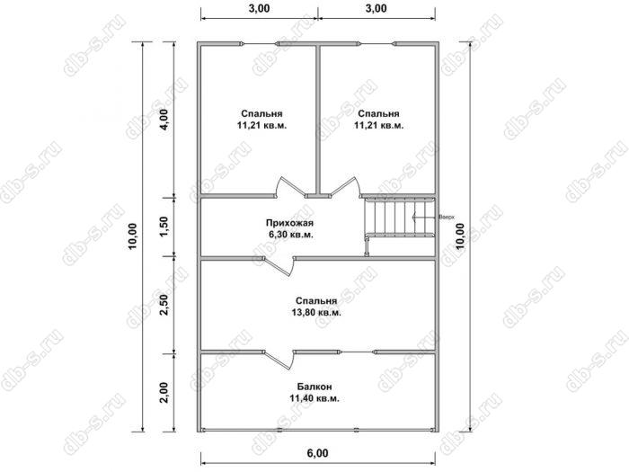 Дом 8 на 10 план мансардного этажа