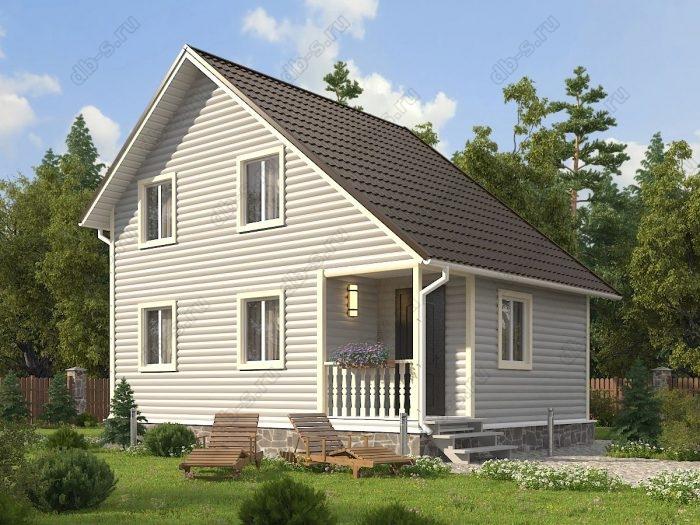 Двухэтажный проект 6 на 8 каркасный дом под ключ терраса (веранда) двухскатная крыша санузел (туалет)