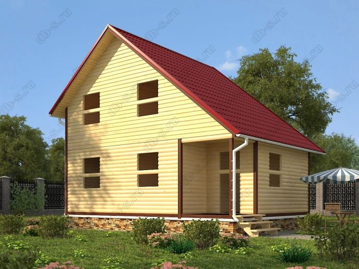 Двухэтажный проект 6 на 8 сруб под усадку терраса (веранда) двухскатная крыша санузел (туалет)