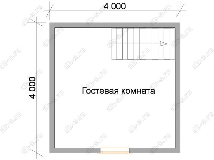 План мансардного этажа бани 6 на 4