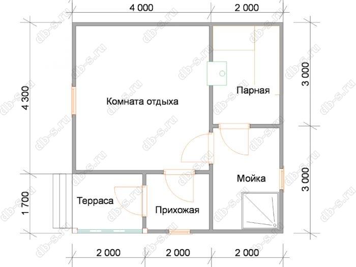 Планировка одноэтажной бани 6 на 6